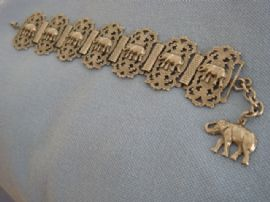 1940s -1950s Elephant Bracelet - White Metal Panel Style Bracelet (Sold)
